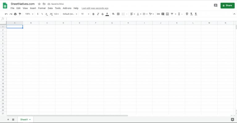 Google Sheet working environment screen shot