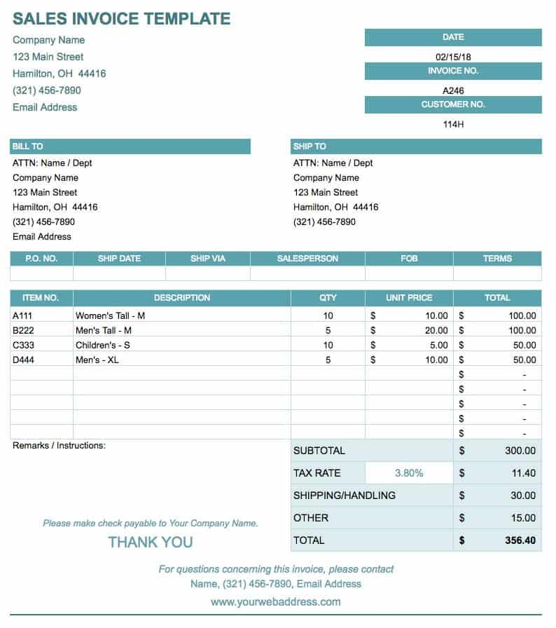 Sales Invoice Template - Google Sheets