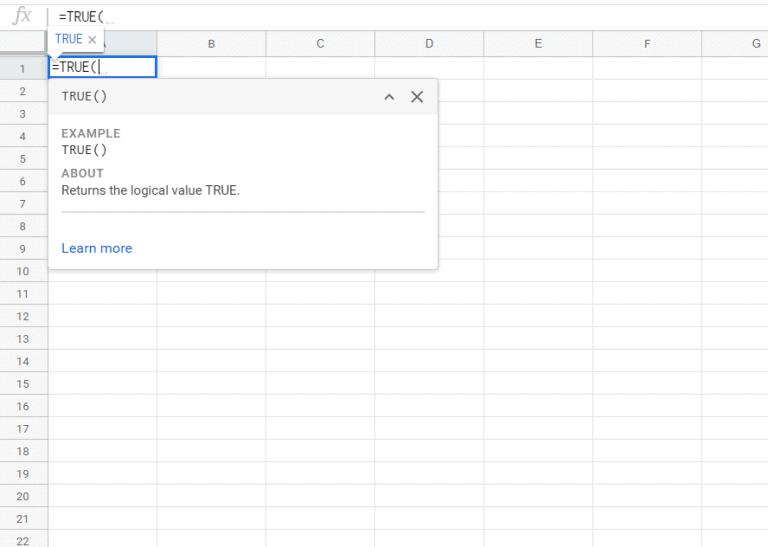 TRUE Function in Google Sheets