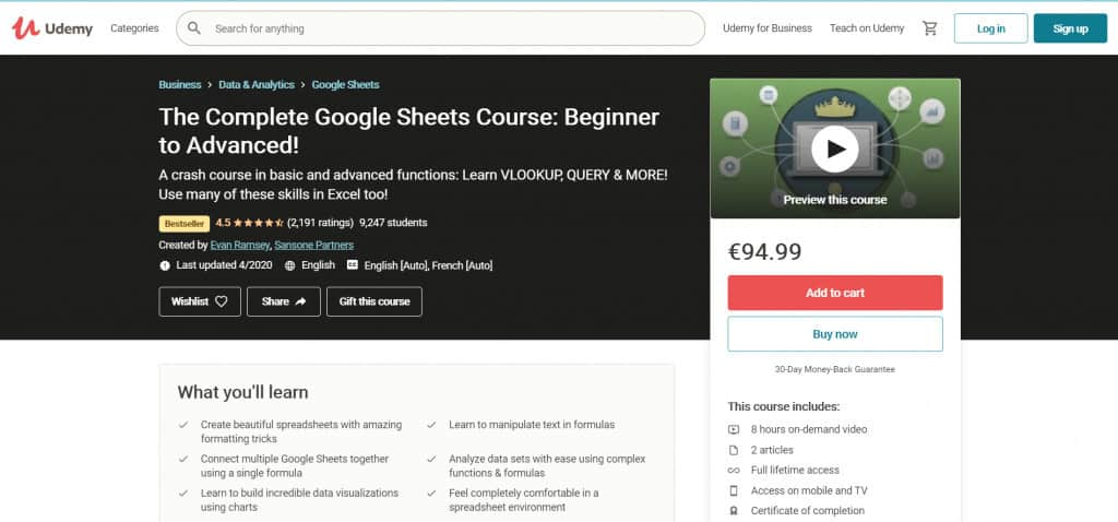 Udemy Google Sheets Course