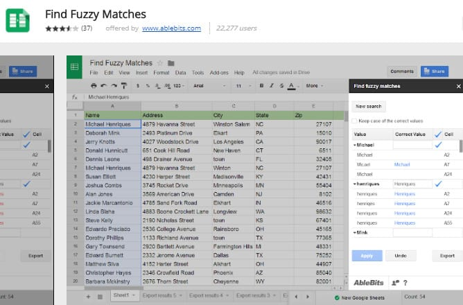 find fuzzy matches example add-on google sheets