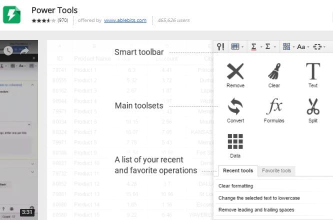 powertools spreadsheets google